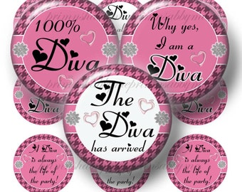 DIVA, Bottle Cap Images, 1 Inch Circle, Digital Collage Sheet, Pink, White, Sayings, Instant Download, Bottle Caps, Pendants, Magnets, Bows