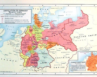 Unification of Germany, Bismarck's Empire - 1957 Vintage Map - Vintage Atlas Page - Historical Map - Rand McNally Map - Colored Map - 11 x 7