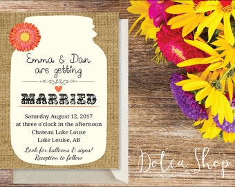 Printed | Sunflower gerbera daisy mason jar country outdoor western wedding | Economy shipping | Ask for custom changes!