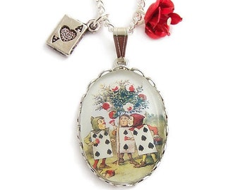 Alice in Wonderland necklace Painting the roses red charm pendant