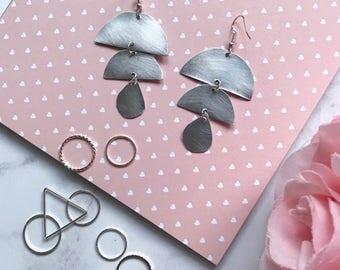 Geometric Circular Drop Earrings |  Silver & Aluminium