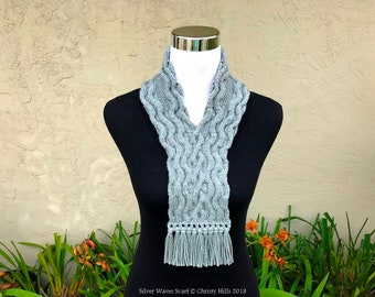 Knitting Pattern Only - Silver Waves Scarf