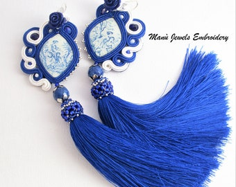 soutache earrings blue tassels, soutache jewelry, boho ethnic earrings, fringe earrings, colorful earrings, statement earrings, ooak