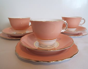 Vintage Colclough Harlequin Pink Teacup and Cake Plate. Pink Trio Tea Set, Perfect For An Afternoon Tea Party Or Pretty Pink Baby Shower