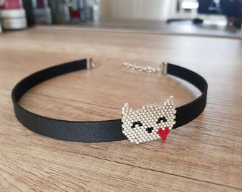 Black Choker Necklace, Cat Lover Gift, Cat Necklace, Collar Choker, Black Leather Choker, Peyote Jewelry, Gift for Girl, Animal Jewelry