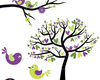 Love Birds in Lime Green, Purple, and Black - Digital Clip Art