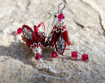 Burgundy Earrings, Red floral Gift for her Woodland Wedding Jewelry, Boho Chic Earing, Unique gift ideas Mothers day gift for mom Wife gifts