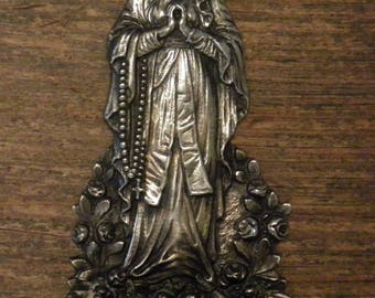 antique silver very detailed holy water font of Mother Mary with rosary
