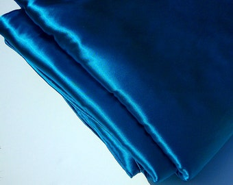 Peacock Blue Satin Blanket Throw, Large Luxurious Accent Blanket, Living room Accent, Bedroom throw blanket