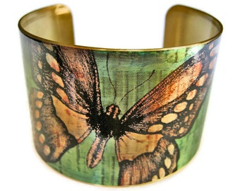 Butterfly cuff bracelet brass adjstable brass Gifts for her