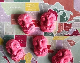 Kitschy Pink, Wiki Tiki Talismans, Set of 5, Lisa Kettell Designs