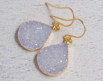 Druzy Earrings, Light Gray Druzy Earrings, Teardrop Earrings, Gold Drop Earrings, Dangle Gemstone Earrings, Clip-on Earrings, Gift, R2-68