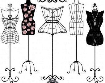 "Mannequin Silhouette ClipArt ""MANNEQUIN SILHOUETTE"" Fashion,Dress Form ClipArt,Tailor's Dummy,Shabby Chic,Body,Mannequin clipart Ca043"