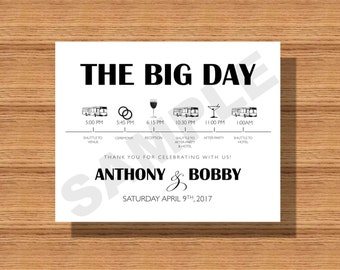 Wedding Day Itinerary Card, Wedding Day Timeline for- The Wedding Bridal Party, Vendors Etc. Printable Wedding Day Schedule of Events