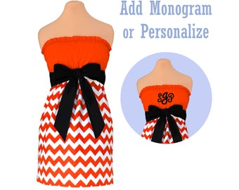Orange + Black Chevron Dress