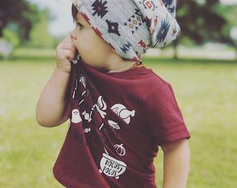 Slouchy Beanie / Baby Beanie / Toddler Beanie  / Child Beanie / Adult Beanie / Kids Beanie / Hipster Baby / Newborn Beanie / Gray Aztec