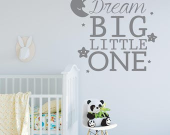 Dream Big Little One Wall Decals - Wall Stickers - Bedroom Decor -