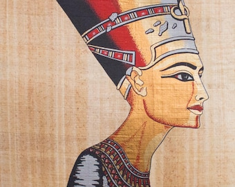 Queen Nefertiti - Vintage Hand Painted Papyrus Paper from Egypt