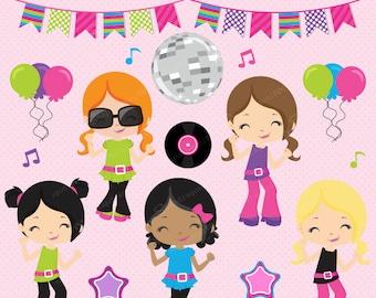 Disco clipart, Dance clipart, 1970's clipart, Retro clipart, Disco Girls, Disco Divas, Dance Party, Commercial License Included