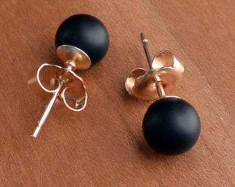 Natural Onyx stud earrings, Matte or polished stones in 8 mm & 6 mm size, Sterling Silver or Gold Filled post and earback, Made in USA