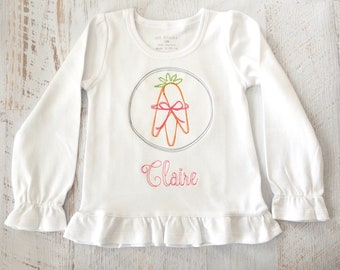 Easter Carrot Bundle Vintage Stitch Embroidery Shirt