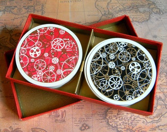 Novelty Steampunk Double Deck of Red & Black Round Playing Cards. Waddington Rondo Gear Embellished Playing Cards. 1960's or 70's. Complete.