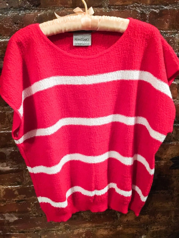 Vintage 80's Renaissance red & white striped sleevless sweater unworn excellent M/L or oversized cool