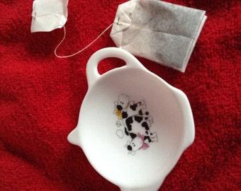 """Ceramic Teabag Holder Black and White Cow 4.5"""""""