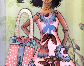 Printable paper-doll with purse full color