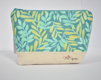 Zipped Pouch - Green, Yellow Leaves - makeup bag, cosmetic bag, toiletry bag, accessories bag, small storage bag, small zipper pouch, spring