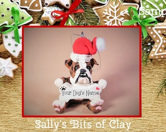 Brown and White brindle Santa Bone English Bulldog Dog Christmas Holidays Ornament Sally's Bits of Clay PERSONALIZED FREE with dog's name