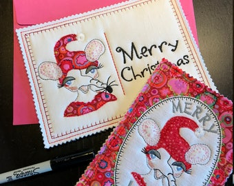 CHRISTMAS CARDS ITH with Mouse Alvilda, 6 Machine Embroidery Designs in 3 languages and two sizes, can also be used for making MugRugs