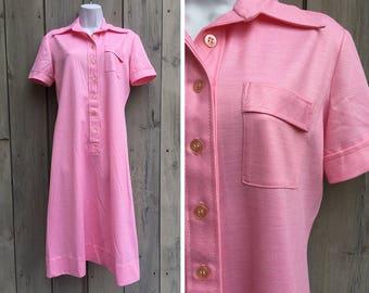 Vintage dress | 1960s Bleeker Street Jonathan Logan pink mod knit A line polo dress