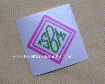 Double Diamond Monogram Vinyl Decal