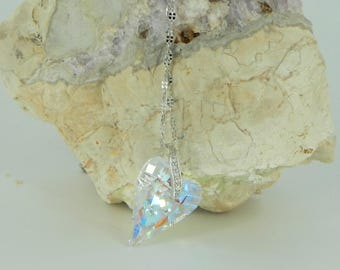 316L Stainless Steel Heart Necklace, Swarovski heart Crystal AB, stainless steel 316L necklace swarovski heart pendant necklace