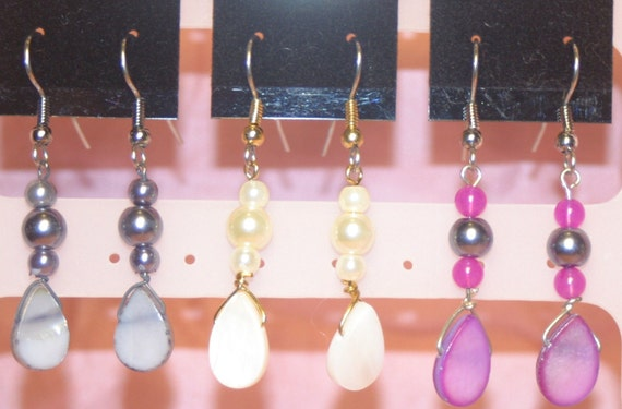 Shell & Faux Pearl Earrings