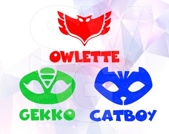 PJ Masks Catboy Owlette Gekko SVG DXF Layered Cut Files Cricut Silhouette Cameo Superhero Party birthday shirt Vinyl Tshirt Decal Iron on