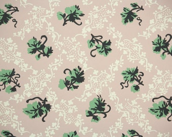 1950s Vintage Wallpaper by the Yard - Ivy Wallpaper with Green and Black Leaves on White and Pink