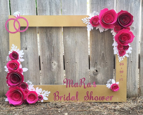 gold floral frame photo booth prop with 3d flowers perfect. Black Bedroom Furniture Sets. Home Design Ideas