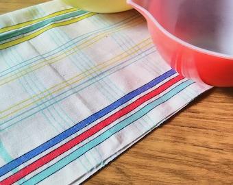 60s Vintage tea towel dishtowel dishcloth NOS unused checkered red white blue turquoise yellow