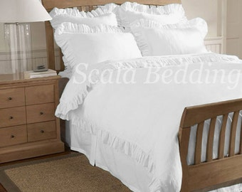 Solid Edge Ruffle Duvet Cover Set 100% Egyptian Cotton Full/Queen White