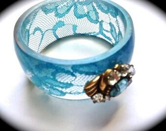 Something Blue Vintage Bangle-Wide Cuff Bracelet