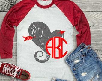 Distressed Grunge Arrow Heart Monogram Frame svg Valentine svg, Kids Valentines Day SVG, DXF, EPS shirt, Boho Cricut Silhouette
