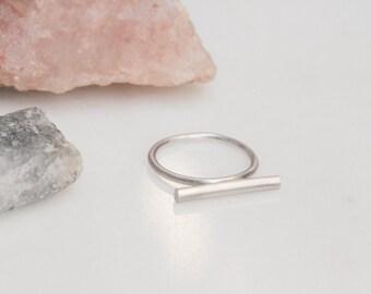 Minimal sterling silver bar ring