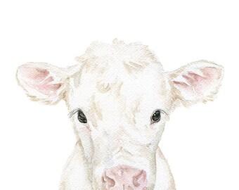 Baby Cow Calf Watercolor Painting - 5 x 7 - Farmhouse Farm Animal - Nursery Wall Art Decor