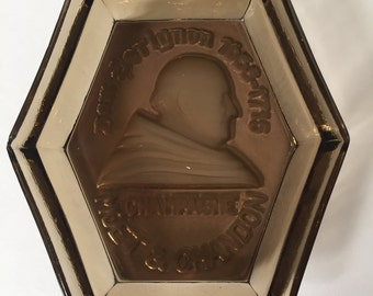 RARE Vintage Glass Dom Perignon and Moet & Chandon Hexagon Molded Glass Ashtray / 1930s / Champange