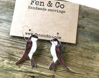 Swallow earrings, Swallow jewellery, swallows, swallow hoops, hoop earrings, dangle earrings, bird hoops, garden bird earrings, wildlife