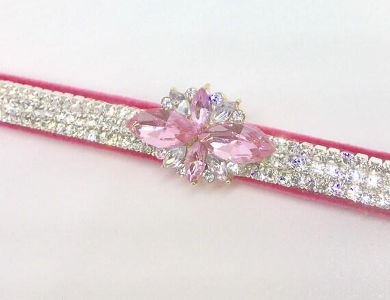 Pink Velvet ~Topaz & Diamonds~ Crystal Rhinestone Dog Cat Pet Collar + Charm USA