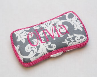 Personalized Wipes Case - Grey damask with Hot Pink