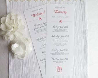 Double Sided Welcome Itinerary - Wedding Welcome Card     wedding schedule     wedding timeline - - Style IT40 - BEACH COLLECTION